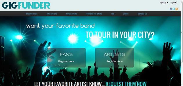 gigfunder plataforma financiación colectiva para giras de bandas musicales