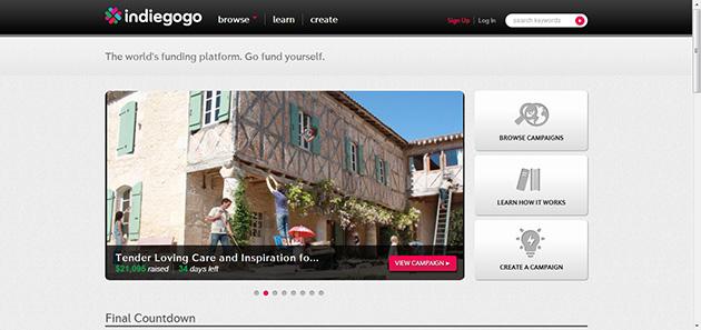IndieGoGo plataforma financiación colectiva para proyectos empresariales o artísticos