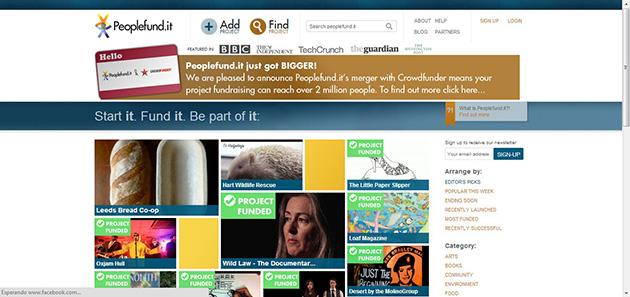 peopolefund.it plataforma financiación colectiva para proyectos empresariales o artísticos del reino unido